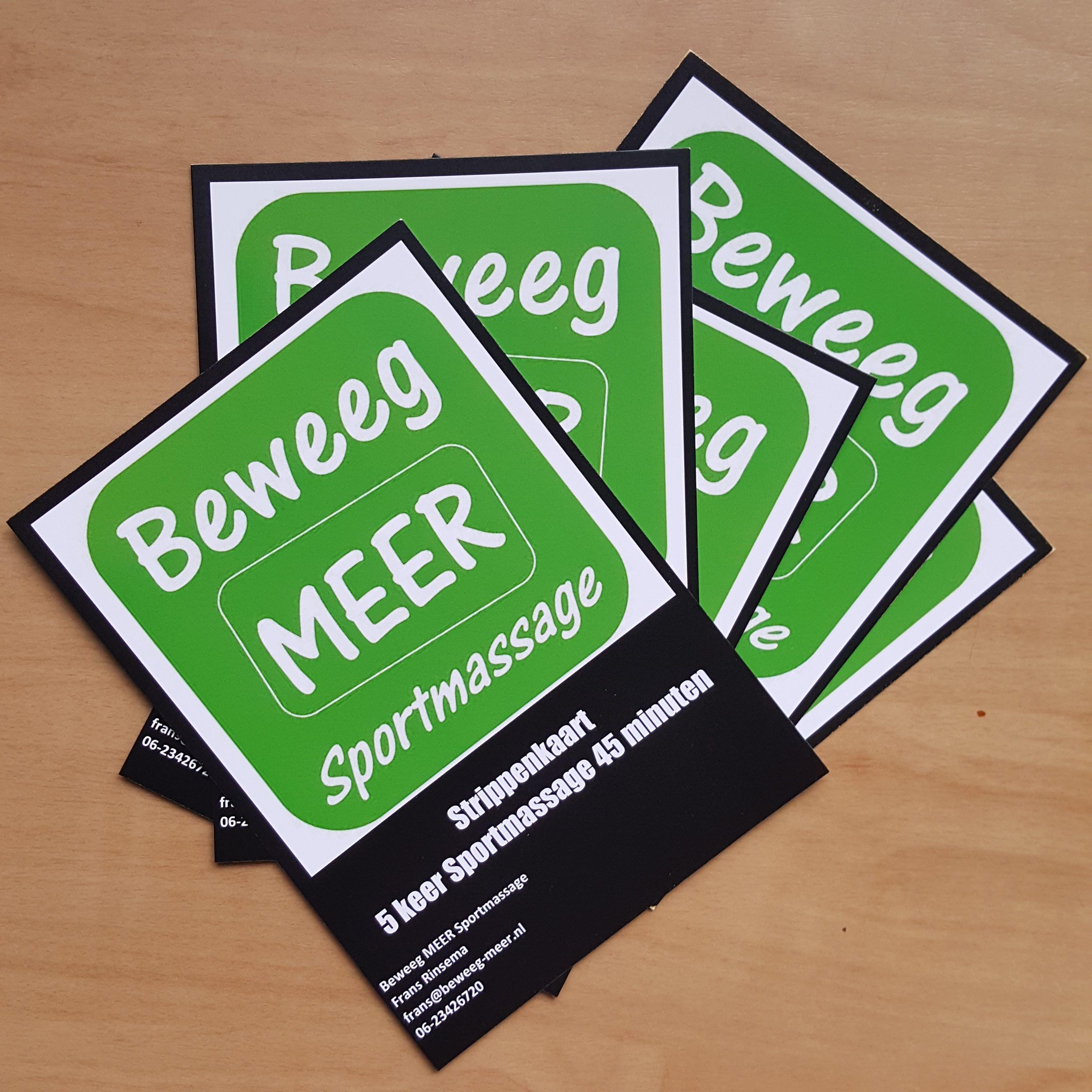 Tarieven strippenkaart Beweeg MEER Sportmassage Amersfoort